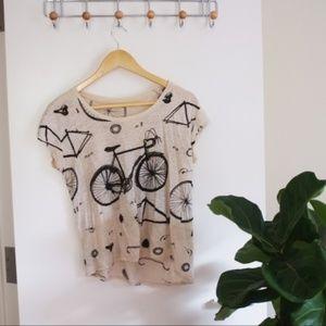 MADEWELL bicycle print cropped cream shirt